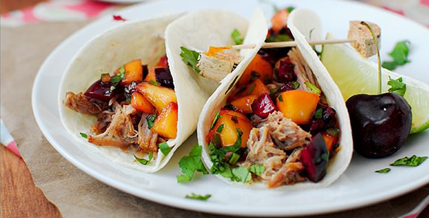 Intensely Delicious Smoky Pulled Pork Tacos With Cherry-Peach Salsa