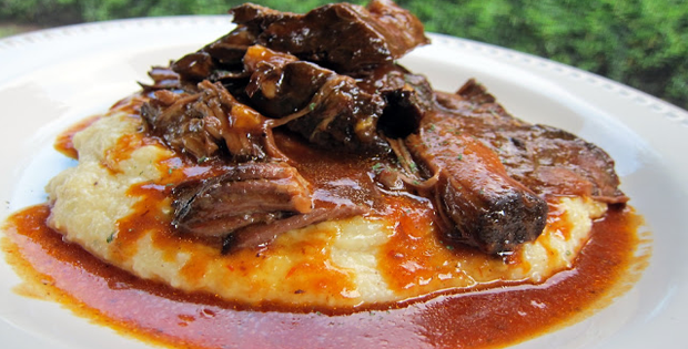 A Very Delectable Crock Pot BBQ Pot Roast Over Cheddar Ranch Grits