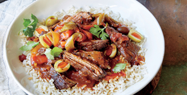 Delicous But Traditional Cuban Ropa Vieja Cooked in A Crock Pot