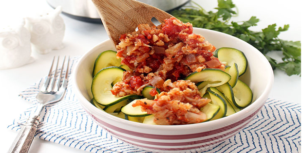 Crockpot Cauliflower Bolognese with Zucchini Noodles