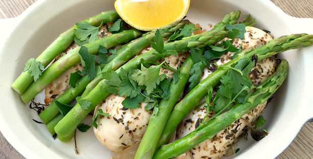 Slow Cooked Lemon And Herb Chicken With Asparagus