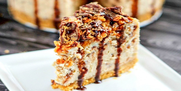 A Crazily Delicious Slow Cooker Butterfinger Cheesecake