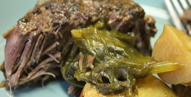 Slow Cooker Beef Pot Roast With Turnip Greens