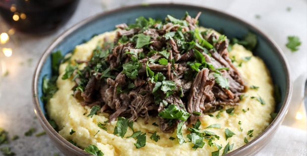 Slow Cooker Cabernet Beef Short Ribs With Mascarpone Polenta