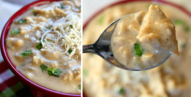 A Thick And Creamy Slow Cooker White Chicken Chili