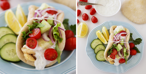 Greek Slow Cooker Chicken Gyros with Tzatziki Sauce